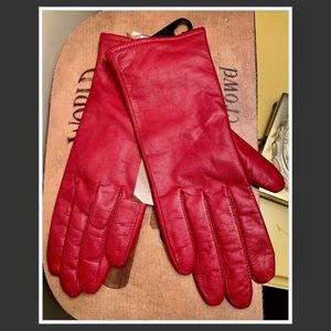 NWT FOWNES RED LEATHER GLOVES 🧤